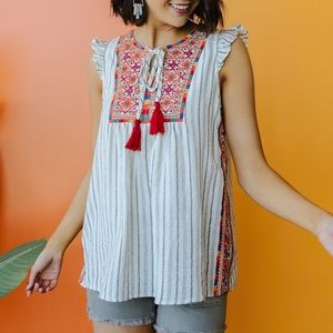 Tassels Rule Embroidered Sleeveless Blouse